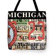 Michigan License Plate Tote Bag