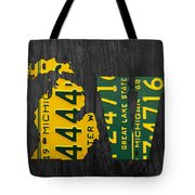 Michigan Love Recycled Vintage License Plate Art State Shape Lettering Phrase Tote Bag by Design Turnpike