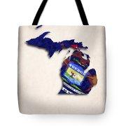 Michigan Map Art With Flag Design Tote Bag