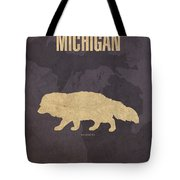 Michigan State Facts Minimalist Movie Poster Art  Tote Bag