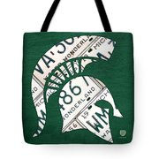 Michigan State Spartans Sports Retro Logo License Plate Fan Art Tote Bag