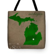 Michigan State University Spartans East Lansing College Town State Map Poster Series No 004 Tote Bag
