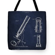 Microscope Patent Drawing From 1865 - Navy Blue Tote Bag