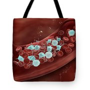 Microscopic View Of Blood Clotting Tote Bag