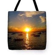 Mid Summer Sunset Over The Island Tote Bag