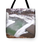 Middle Falls And Ice Feathers Tote Bag