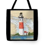 Middle Island Lighthouse Mi Cathy Peek Nautical Chart Art Tote Bag