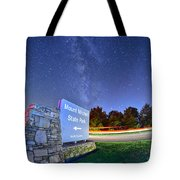 Midnight At Mount Mitchell Entrance Sign Tote Bag