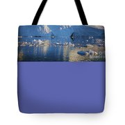 midnight sun with moon in Greenland Tote Bag