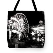 Midway Attractions In Black And White Tote Bag