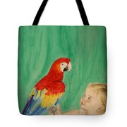 Mika And Parrot Tote Bag