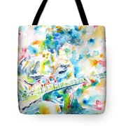 Mike Bloomfield Playing The Guitar - Watercolor Portrait Tote Bag
