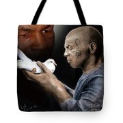 Mike Tyson And Pigeon II Tote Bag