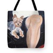 Mikedog With John's Knee Tote Bag