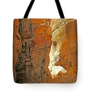 Mile-long Canyon Leads Through 600 Foot Deep Gorge To The Treasury In Petra-jordan Tote Bag