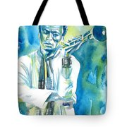 Miles Davis Watercolor Portrait.3 Tote Bag