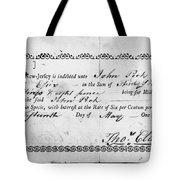 Military Due Bill, 1784 Tote Bag