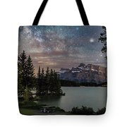 Milky Way Over Mt Rundle Tote Bag
