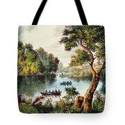 Mill Cove Lake Tote Bag by Currier and Ives