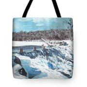 Mill Pond In Winter Tote Bag