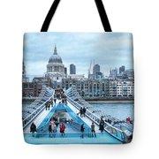Millenium Bridge And St Pauls Cathedral Tote Bag