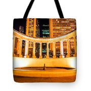 Millennium Monument Fountain In Chicago Tote Bag by Paul Velgos