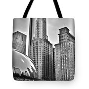 Millennium Park In Black And White Tote Bag