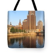 Milwaukee River Theater District 4 Tote Bag