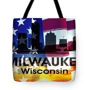 Milwaukee Wi Patriotic Large Cityscape Tote Bag
