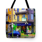 Mimi And Coco Clothing Boutique Laurier In The Rain  Plateau Montreal City Scenes Carole Spandau Art Tote Bag