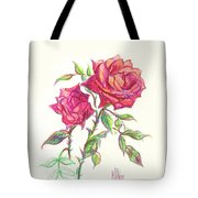 Minature Red Rose Tote Bag