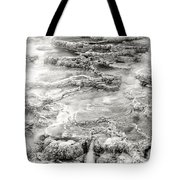 Minerva Springs In Black And White Yellowstone National Park Wyoming Tote Bag