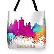 Minneapolis City Colored Skyline Tote Bag
