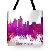 Minneapolis City Skyline Purple Tote Bag
