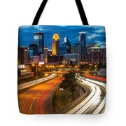 Minneapolis Light Trails Tote Bag