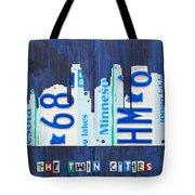 Minneapolis Minnesota City Skyline License Plate Art The Twin Cities Tote Bag
