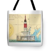 Minneapolis Shoals Lighthouse Mi Nautical Chart Map Art Tote Bag