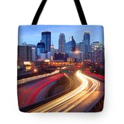 Minneapolis Skyline At Dusk Early Evening Tote Bag
