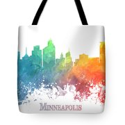 Minneapolis Skyline Colored Tote Bag