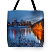 Minneapolis Skyline Images Stone Arch Bridge Spring Evening Tote Bag