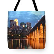 Minneapolis Skyline Photography Stone Arch Bridge Tote Bag