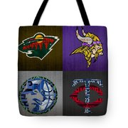 Minneapolis Sports Fan Recycled Vintage Minnesota License Plate Art Wild Vikings Timberwolves Twins Tote Bag
