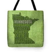 Minnesota Word Art State Map On Canvas Tote Bag