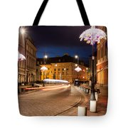 Miodowa Street In Warsaw At Night Tote Bag