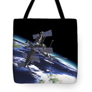 Mir Russian Space Station In Orbit Tote Bag by Leonello Calvetti