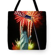 Miss Liberty And Fireworks Tote Bag