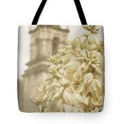 Mission San Jose And Blooming Yucca Tote Bag