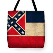 Mississippi State Flag Art On Worn Canvas Tote Bag