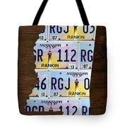 Mississippi State License Plate Map Art Tote Bag