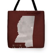 Mississippi State University Bulldogs Starkville College Town State Map Poster Series No 068 Tote Bag